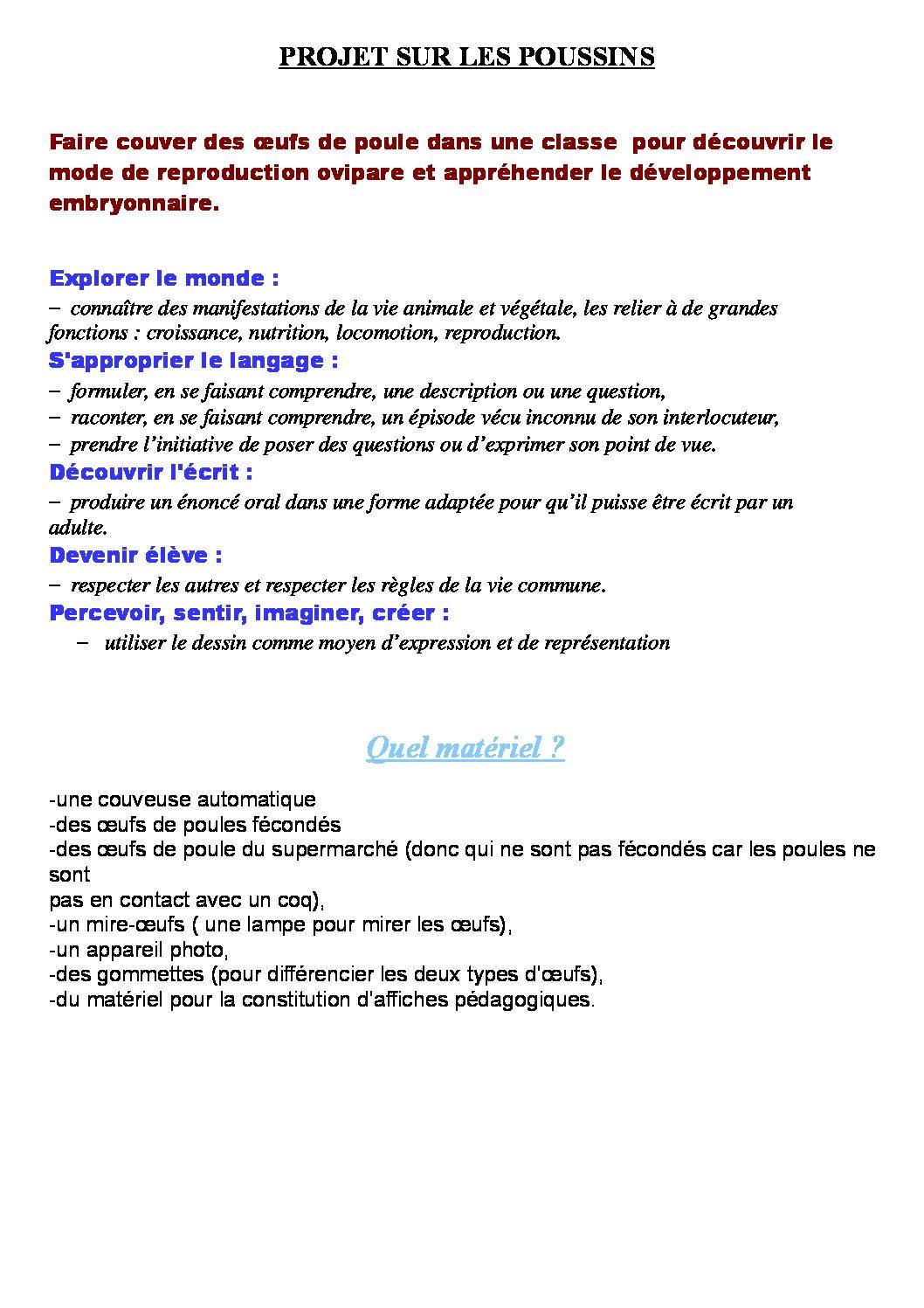 Séquence et cahier individuel d'investigation sur l'oeuf/poule/poussin