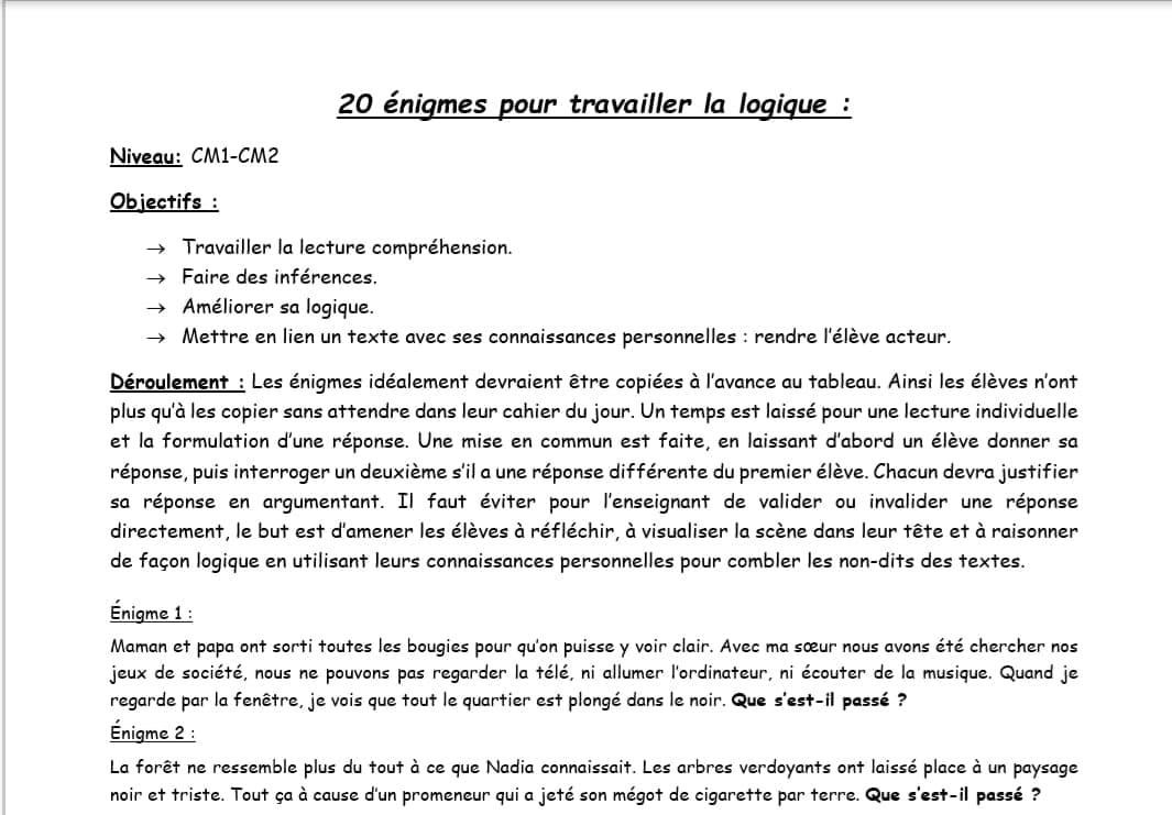 20 Enigmes Pour Travailler La Logique Cm1 Cm2 Niv 2 Moyen Lecture Cm1 Cm2 La Salle Des Maitres