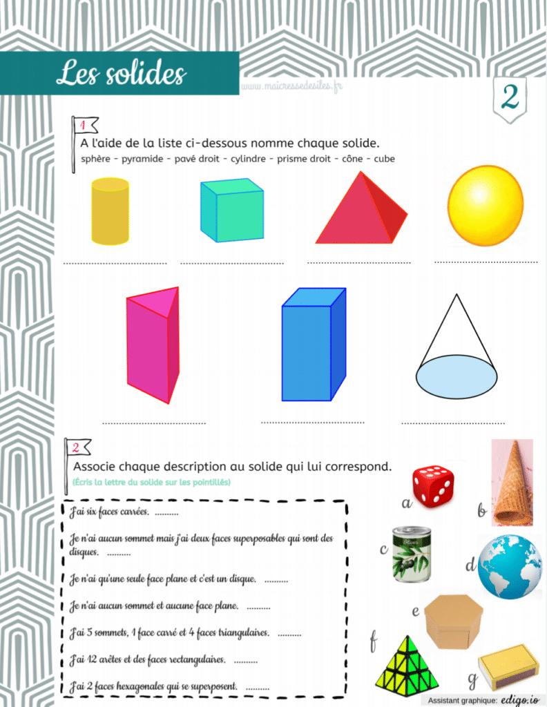Géométrie : Fiches activités sur les solides