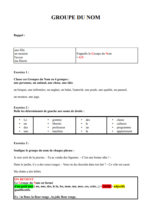 8 Exercices Sur Le Groupe Nominal Pour Ce2 Et Cm1 Etude De La Langue Ce2 Cm1 La Salle Des Maitres