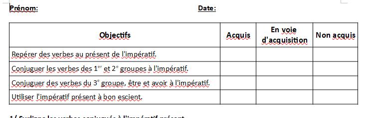 Evaluation Sur Le Present De L Imperatif Etude De La Langue Cm2 La Salle Des Maitres