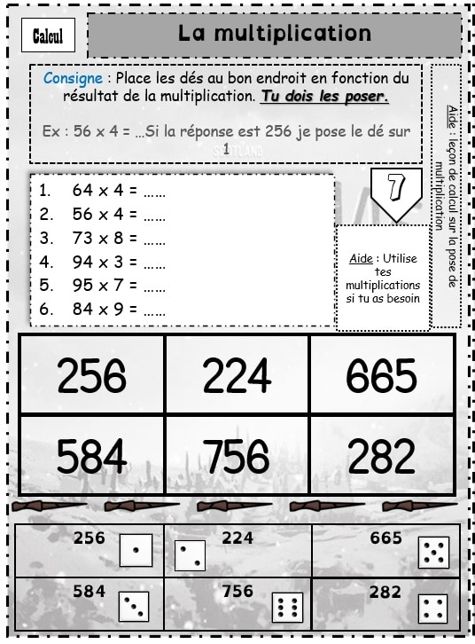 La multiplication (Jeu de dés)