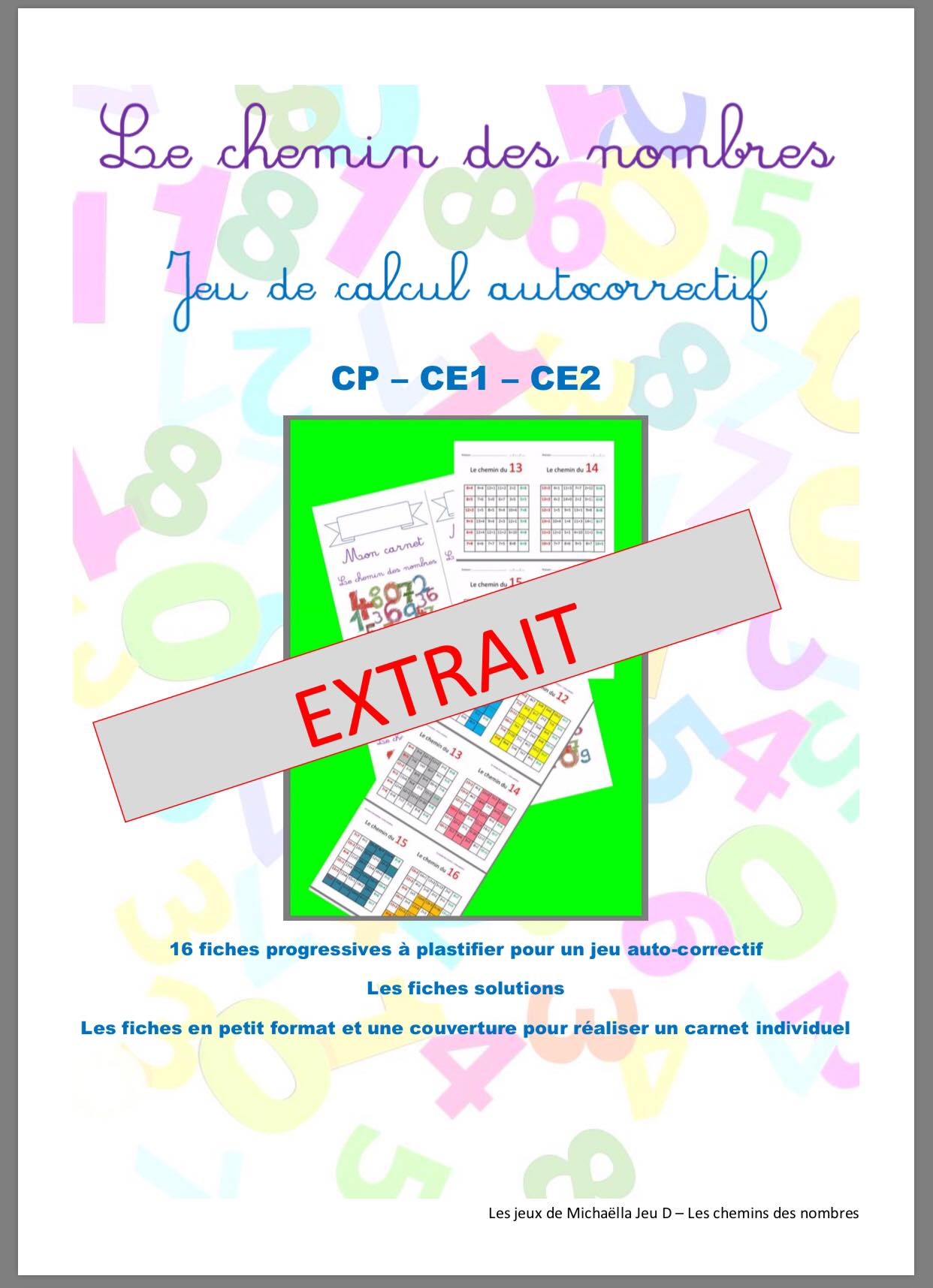 Le Chemin Des Nombres Jeu Mathematique Extrait Gratuit Mathematiques Ce1 Ce2 Cp La Salle Des Maitres