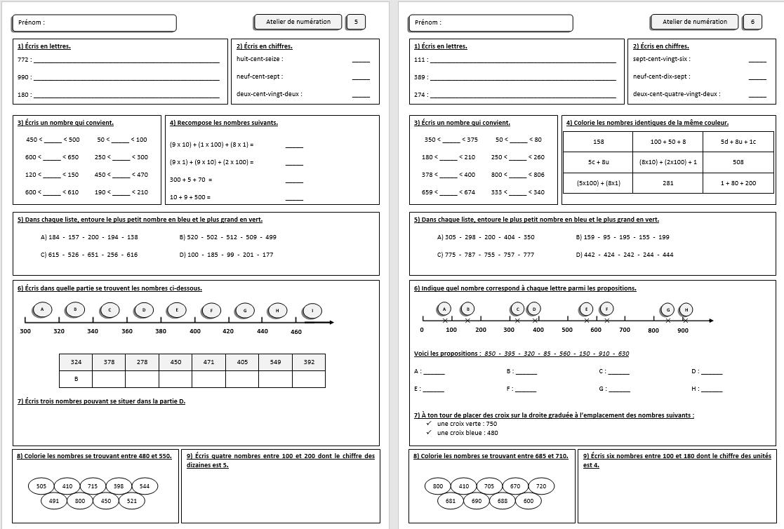 Fiches De Numeration Ce1 Ce2 Cm1 Mathematiques Ce1 Ce2 Cm1 Cm2 Cp La Salle Des Maitres