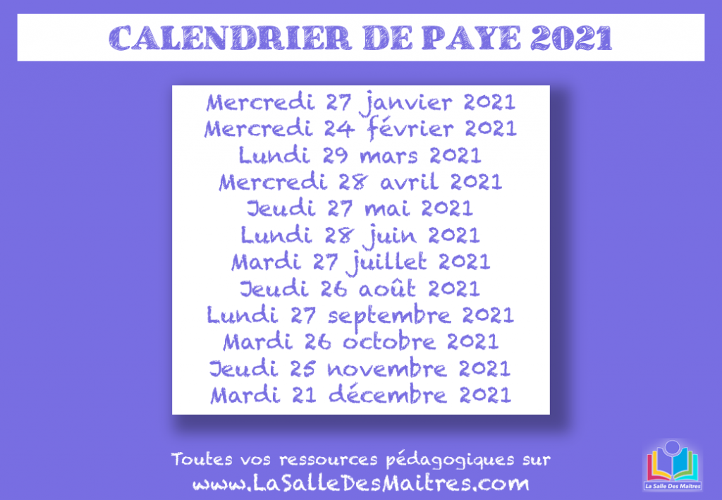Calendrier Salaire Prof 2021 Calendrier de Paye Education Nationale 2021   La Salle des Maitres