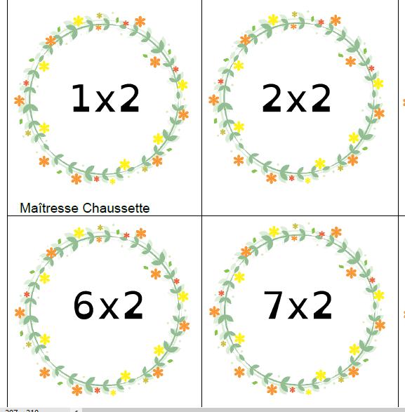 Mémory des multiplications