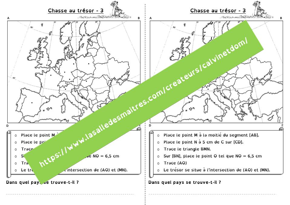 Chasse au trésor – Géométrie & géographie (Ce2 – cycle3)